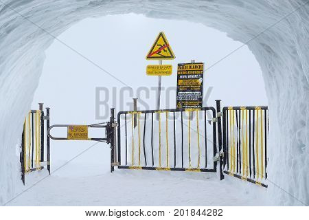 Chamonix, France - January 28, 2015: Ice and snow grote to the exit to Vallee blanche. Aiguille du Midi