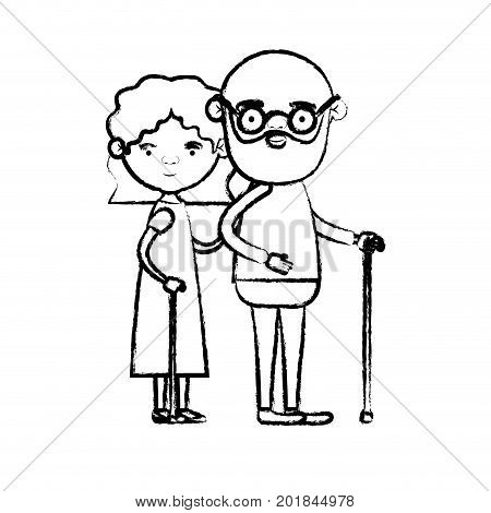blurred silhouette of full body couple elderly in walking stick of grandmother with wavy hair in dress and bald bearded grandfather with glasses vector illustration