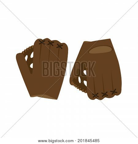 Baseball glove vector illustration ball isolated equipment sport game league play leather icon