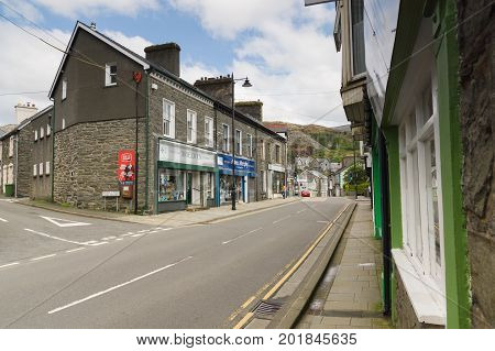 Blaenau Ffestiniog Wales UK - August 22 2017: The main high street in the Welsh mining town of Blaenau Ffestiniog famous for it's slate mines and situated in the centre of the Snowdonia National Park