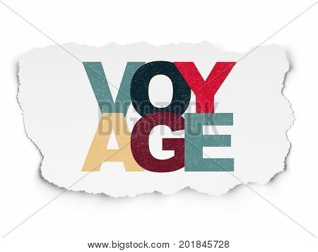 Travel concept: Painted multicolor text Voyage on Torn Paper background