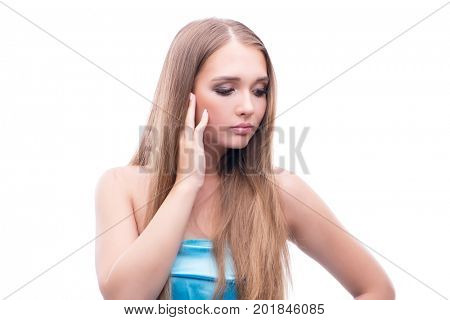 Beautiful young female model with make up posing isolated on whi