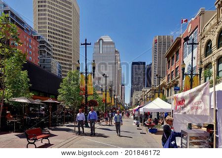 Calgary, Canada, 2017.07.05: A pedestrian street in Calgary in Canada.