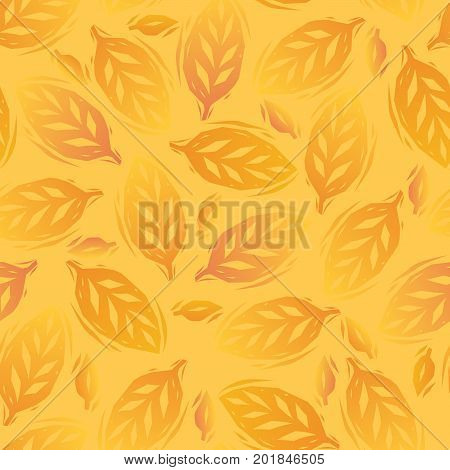 Golden yellow autumn leaves seamless pattern, vector background