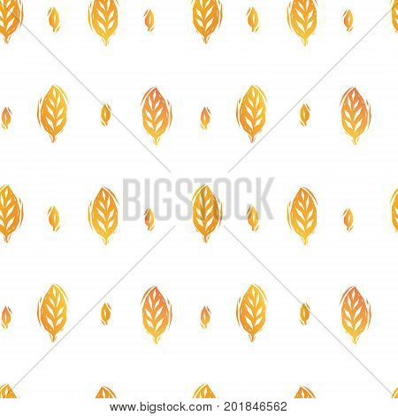 Golden yellow autumn leaves and trees subtle seamless pattern, vector background