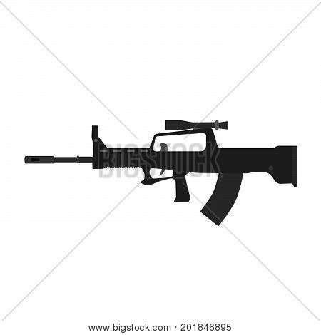 Rifle vector sniper hunting gun silhouette isolated illustration icon assault military weapon symbol
