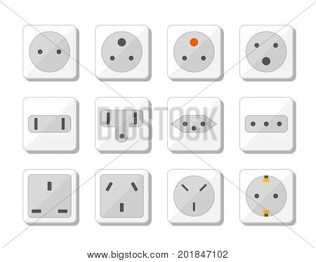 Power socket icon set. World standards for different country plugs. Vector illustration.