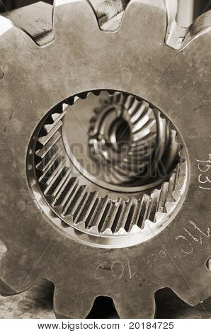 close-up of cog and gears