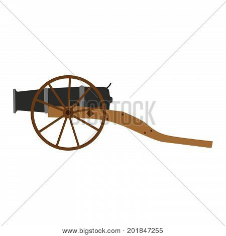 Cannon artillery old gun vector illustration military weapon war isolated white ancient army vintage icon antique