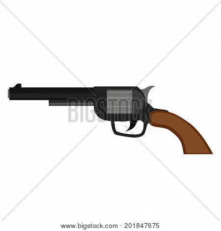 Revolver gun pistol vector vintage handgun weapon illustration white bullet old western icon shooter