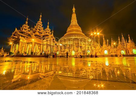 Yangon, Myanmar - September 27, 2016: Shwedagon Pagoda at night in Yangon, Myanmar.