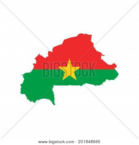 Burkina Faso flag and map on the white background. Vector illustration