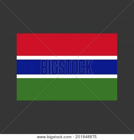 Gambia flag on the grey background. Vector illustration