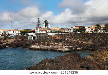MADALENA, PORTUGAL - AUGUST 02, 2017: Cityscape of Madalena Resort in Pico island, Azores, Portugal