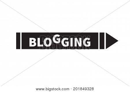 Icon blogging. Logo writer copywriter copywriting creator. Pen with inscription. Vector illustration