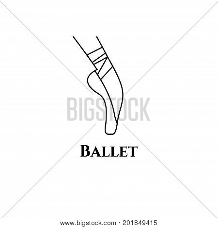 Logo ballet class. Female foot in pointe shoes with ribbons. Icon of classical ballet. Vector illustration