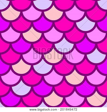 Traditional Japanese seamless pattern. Pink bright colored fish squama. Mermaid scales. Stock vector