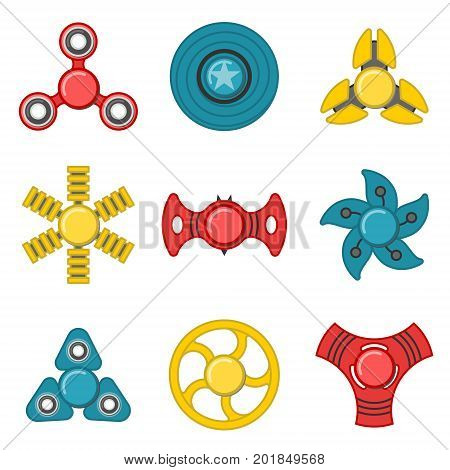 Extra style hand fidget spinner toy vector colorful icon set. Stress and anxiety relief. Colorful illustrations, logo design
