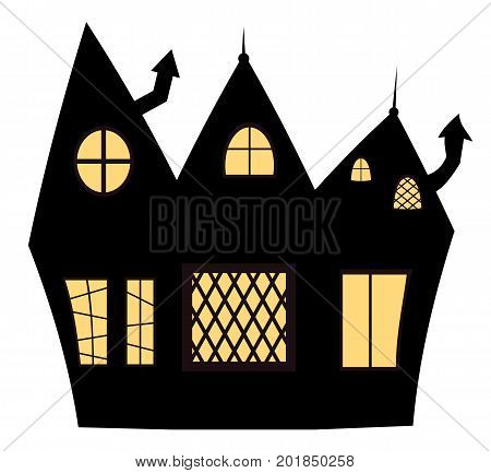 Vector illustration of a haunted lit house for Halloween designs