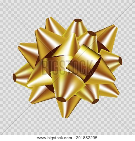 Golden gift box ribbon bow. Modern gift tape decoration folded in ribbon bow for Christmas, wedding or birthday greeting card and gift box design. Vector 3d realistic isolated icon top view