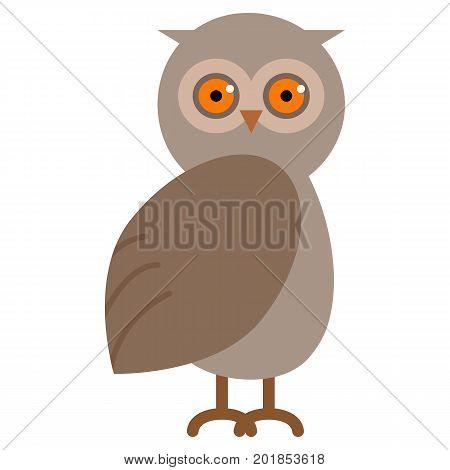 Wild owl animal flat icon, vector sign, colorful pictogram isolated on white. Symbol, logo illustration. Flat style design