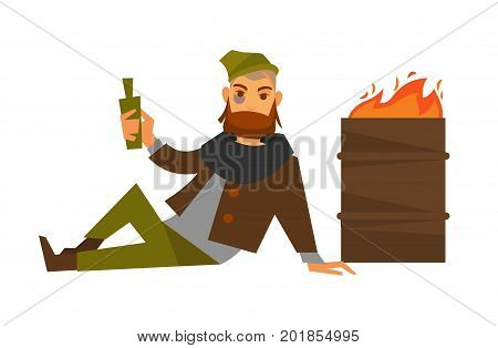 Homeless man beggar or bum vagrant alcohol drink addicted in poverty lying on ground at fire barrel. Man in rags drinking beer bottle. Vector flat isolated icon