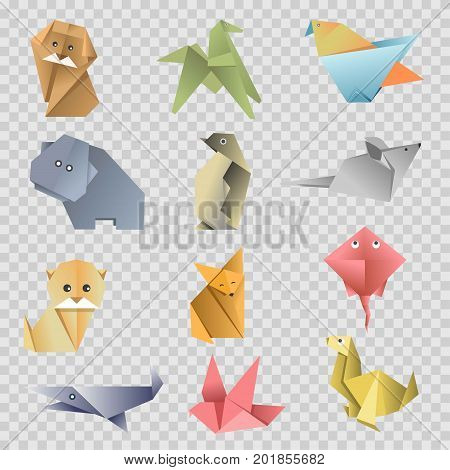 Origami paper animals, birds and fishes flat set on transparent background, Vector isolated cartoon origami fold zoo icons of dog, cat or fox and mouse, dove or pigeon and horse with seal or stingray