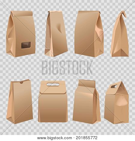 Paper bags 3D models with different bends, folded tops and handle cuts. Brown cardboard or carton bag product package. Vector isolated realistic mock-up icons on transparent background