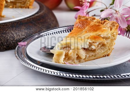 Close-up of homemade creamy apple pie. Tsvetaeva apple pie. Russian cuisine.