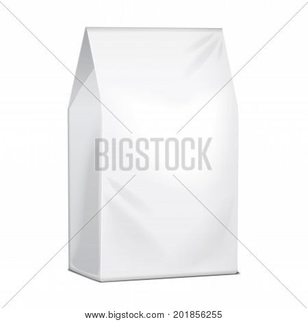 Paper Food Bag Package Of Coffee, Salt, Sugar, Pepper, Spices Or Snacks. Vector Mock Up Template For Product Pack for your design