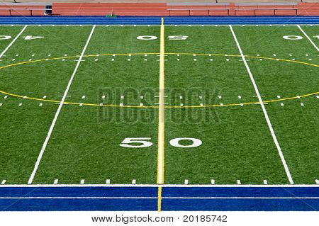 American Football Field Fifty Yard Line