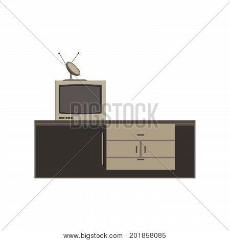 Tv unit television icon vector furniture screen design flat isolated home interior illustration