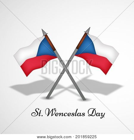 illustration of Czech Republic flags with St. Wenceslas Day text on the occasion of St. Wenceslas Day. St. Wenceslas Day is Celebrated as national day in Czech Republic