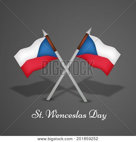 illustration of Czech Republic flags with St. Wenceslas Day text on the occasion of St. Wenceslas Day text. St. Wenceslas Day is Celebrated as national day in Czech Republic