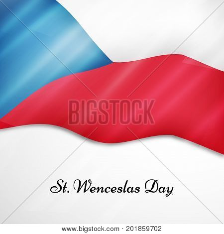 illustration of Czech Republic flag with St. Wenceslas Day text on the occasion of St. Wenceslas Day. St. Wenceslas Day is Celebrated as national day in Czech Republic
