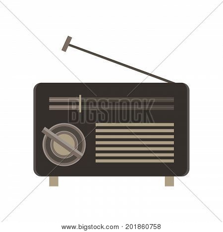 Radio flat icon isolated. Retro vintage style illustration sound symbol media music sign design old
