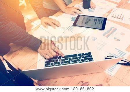 Corporate Business Asian Person Planning With Business Chart And New Startup Teamwork Concept