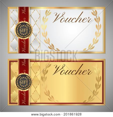 Voucher, Gift certificate, Coupon template. White and gold background design with red frame, ribbon and emblem for ticket, money design, check (cheque)