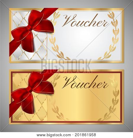 fake money gift certificate template - obrazy ribbon bow white background ilustracje wektory