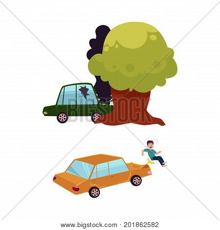 vector flat car accident set. Green colored vehicle with cracked window glass, black smoke coming from hood crashed into the tree, car hit pedestrian. Isolated illustration on a white background.