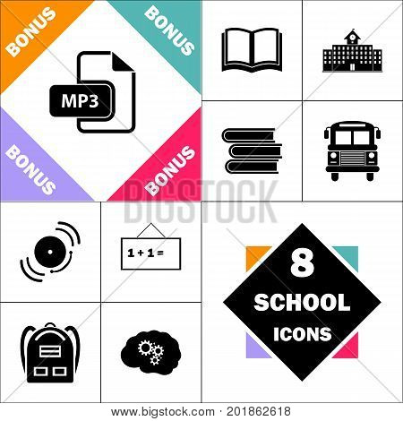 MP3 Icon and Set Perfect Back to School pictogram. Contains such Icons as Schoolbook, School  Building, School Bus, Textbooks, Bell, Blackboard, Student Backpack, Brain Learn