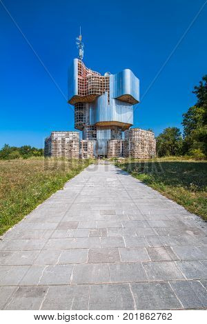 Petrova gora, Croatia, August 27, 2017: Socialist memorial of people's uprise against fascism in World War II on Petrova gora mountain in Croatia, built 1970-1980, design by sculptor Vojin Bakic