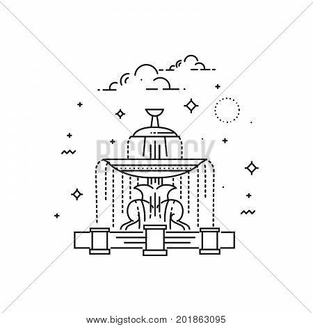 Fountain at the Place de la Concorde in Paris. Line icon