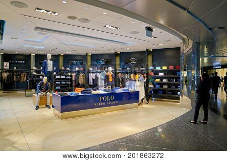 DOHA, QATAR - CIRCA MAY, 2017: a Polo store at Hamad International Airport of Doha, the capital city of Qatar.