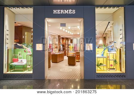 DOHA, QATAR - CIRCA MAY, 2017: Hermes store at Hamad International Airport of Doha.