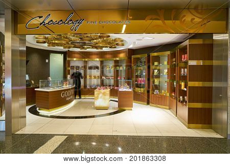 DOHA, QATAR - CIRCA MAY, 2017: Chocology store at Hamad International Airport of Doha, the capital city of Qatar.