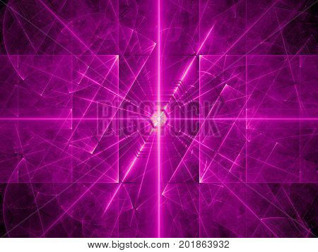 Purple glowing laser beams computer generated abstract background 3D rendering