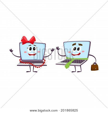 vector flat cartoon funny laptop humanized female girl character wearing red bow and beards smiling and notebook male with handbag and necktie. Isolated illustration on a white background.