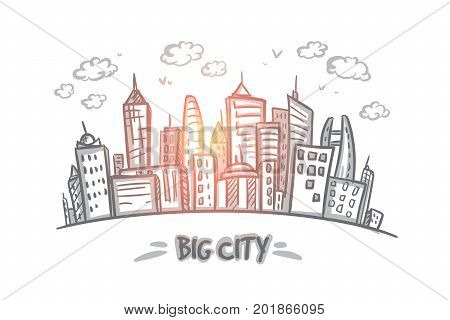 Big city concept. Hand drawn big city full of skyscrapers. Modern buildings isolated vector illustration.