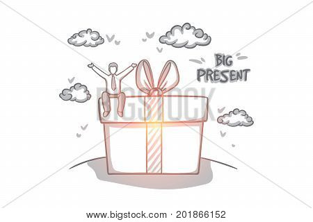 Big present concept. Hand drawn man sitting on big box with present. Happy person gets a huge gift isolated vector illustration.